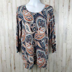 Dressbarn Womens Sweater L Blue Orange Paisley